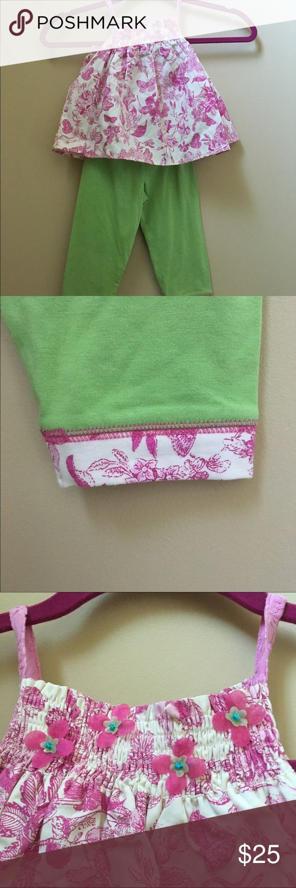 Boutique Baby Lulu by 2 piece, green/pink Boutique brand Baby Lulu by Erin Murphy 2 piece set, pink floral top, lime green pants with matching trim, cotton, size 2T, new Baby Lulu Matching Sets