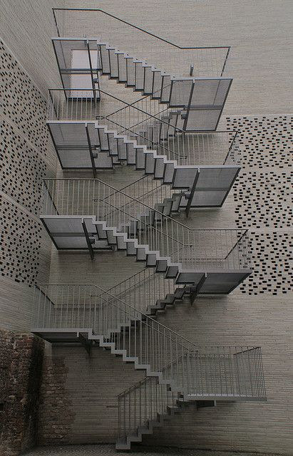 Fire stair at Zumthor's Kolumba Diocesion Museum in Cologne, Germany