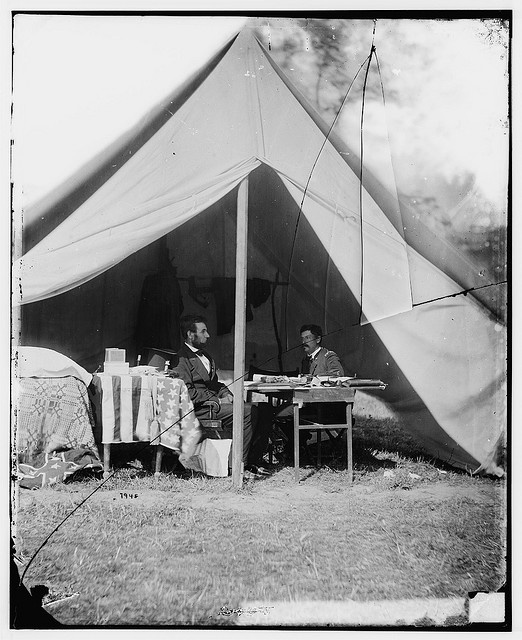 President Lincoln and McClellan at Antietam by Alexander Gardner, 1862 (LOC)