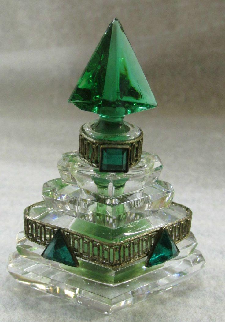 Vtg Czech Miniature Emerald Glass Crystal Brass Filagre Perfume Bottle