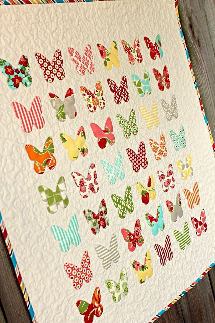 """FrivolousNecessity: Wall hanging measures 26.5"""" X 28.5""""  ~ Butterfly Specimen art style applique pattern. This wall hanging was made using 100% cotton fabrics from the Moda Marmalade Collection"""