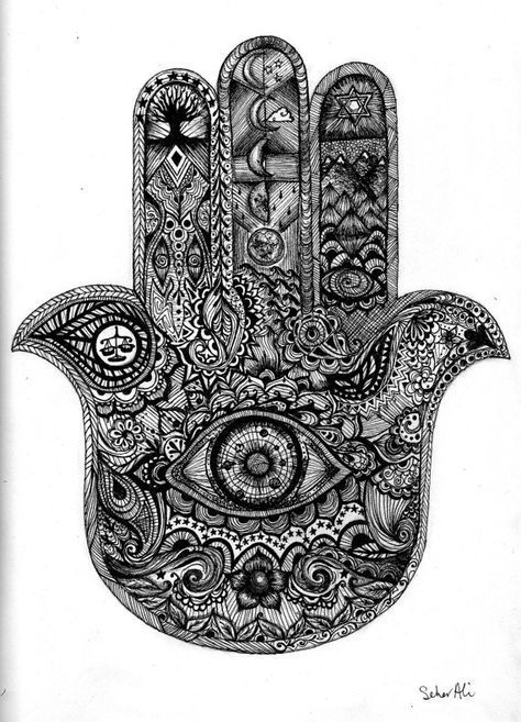 Intricate Hamsa Hand Eye Space Planets Mehndi Illustration  The Hamsa, is a common symbol in the Jewish and Middle Eastern cultures. The symbol represents the protection from the envious or the evil eye. Through semiotics we find that symbols, like this one, need to be taught through culture and religion.