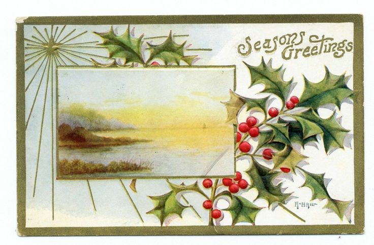 Old Lake Scene Holly^Seasons Greetings^Vintage Christmas Postcard Ear ...