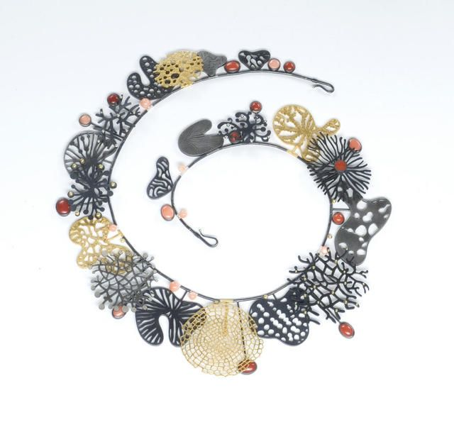 Suzan Rezac. Necklace: oxidized silver, 18K gold, 24K gold leaf, coral