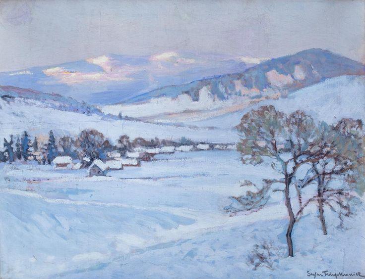 Stefan Filipkiewicz: Pejzaż zimowy olej, płyta, 45,5 × 59 cm w świetle ramy sygn. p. d.: Stefan Filipkiewicz