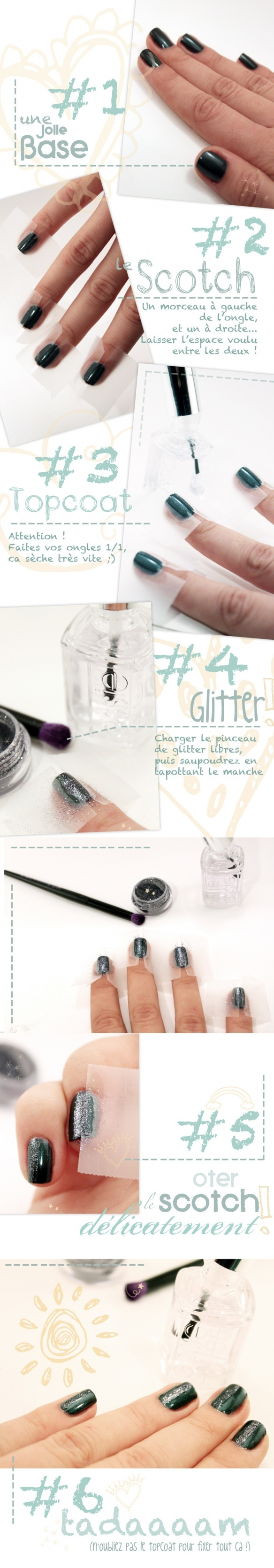 Just use tape and wrap around nail;paint with glitter, let dry and peel tape off. Result: Perfect, straight strip of glitter! #diy nail