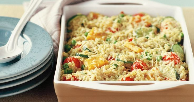 Risoni is a type of pasta in the shape of rice. Try it in this creamy vegetarian bake with basil pesto for a low-fat dinner tonight.
