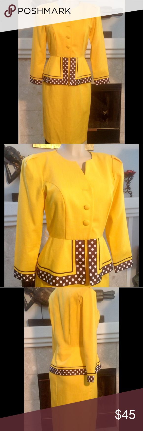Melissa Petite Vintage Pinup Yellow Rare Dress S/M Melissa Petites Vintage 80's Secretary Pinup Dress One of a kind and rare, and may have been custom made There is no size tag, please go by measurements, but feels like S/M  Base color is bright yellow with black white polka dots around cuffs and peplum boarders Approximate measurements are bust 18.5, waist 15, length 41.5 In great used condition with no tears holes or stains. Top front button missing From a smoke free home(D216) Melissa…