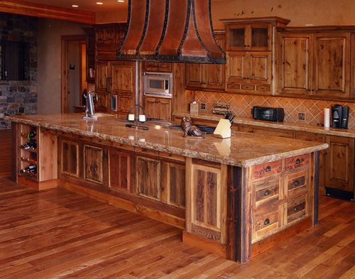 rustic kitchen cabinets | Knotty Alder Kitchen Cabinets. I love this. Possibly pair with a contrasting color on the floor.