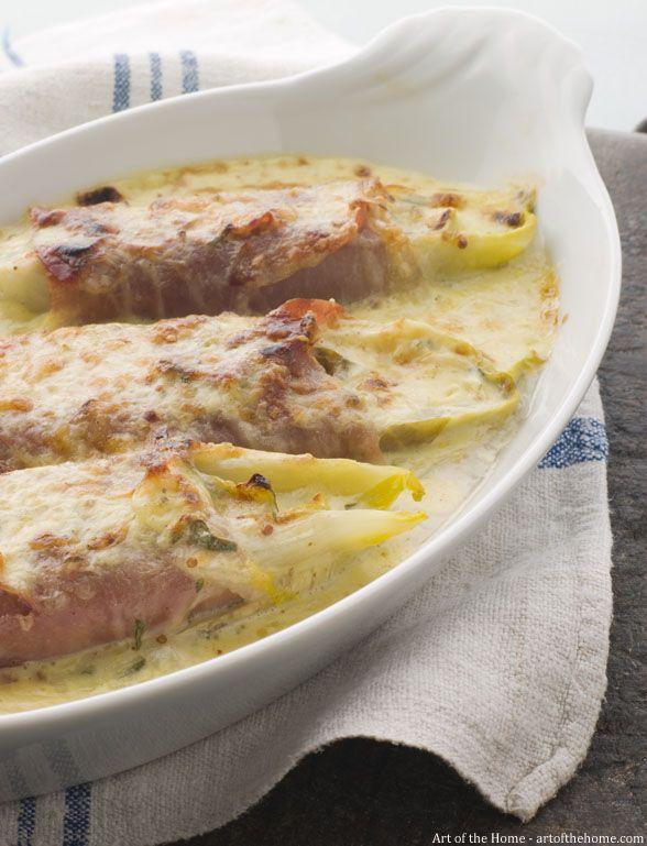 Endive with Ham Gratin (Endives au Jambon)  - http://artofthehome.com/articles/endive-with-ham-gratin-endives-au-jambon