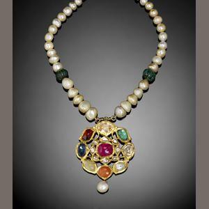 An Indian navratna gem-set enamelled gold Pendant Necklace