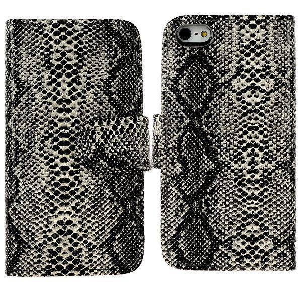 Slangenleer bookcase hoesje voor iPhone 5 / 5s