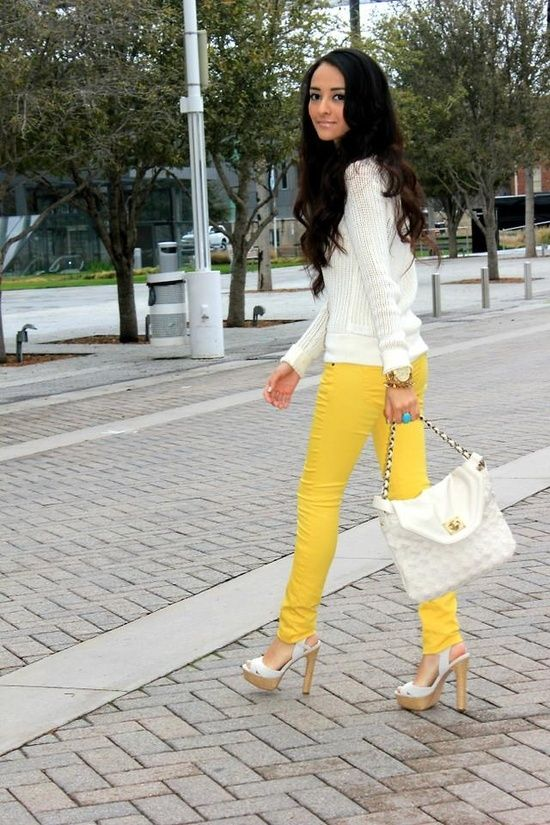 Yellow And White Outfits For Ladies