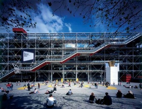 An exterior view of Centre Georges Pompidou, which should also be seen from the inside. I love to spend an evening admiring the collection, the architecture and the sunset views. The museums own site isn't readily pin-able, this one centers on the design.