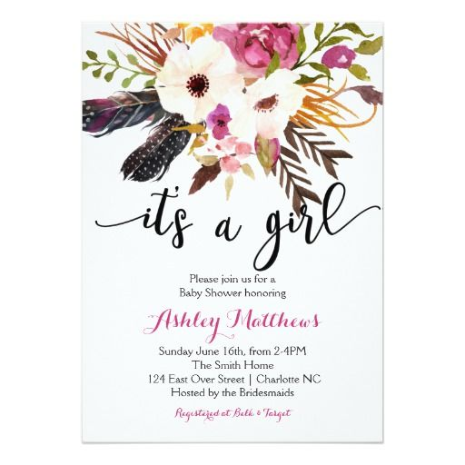 #boho #chic #gender_reveal #feathers #baby #shower #invite #invitation #it #is #a #girl #dream #catcher #teepee #tribal #aztec #flowers #water #color #bridal #gender #reveal #bohemian #baby #shower #baby_shower