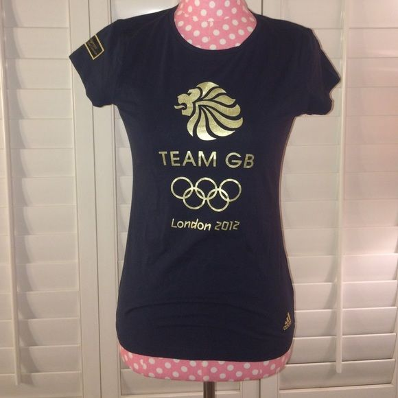 Adidas Olympic Tee! Rare! Team GB shirt from the actual venue of the 2012 Olympic Games. Patch on shoulder is stiched as well as the Adidas logo! Love this shirt, wish it fit! Size is a M! Lettering is a metallic gold. Any questions, or bundle requests feel free to ask! 😊 Adidas Tops Tees - Short Sleeve