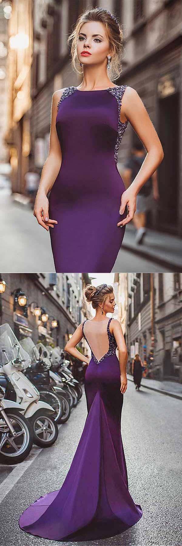 Neckline Satin Purple Mermaid Evening Dresses With Beadings PG506 #prom #evening #dress #purple #mermaid