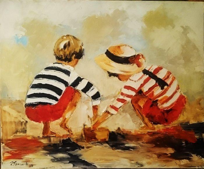 Pierre Trémauville - Jeux d'enfants  Pierre Trémauville (1951-) - Jeux d'enfantsOlieverf op doekOndertekend dat wordt medeondertekend kunstenaar stempel gedateerd.Afmeting: 38 x 46 cm.Canvas in uitstekende conditie.Certificaat van echtheid opgenomen.Verpakt en verzonden met zorg.Internationale verzending bijgehouden.Autodidact Parijse kunstschilder in 1951.Hij begon te schilderen in de straten van Montmartre vastleggen van beweging in bezoekplaatsenevenals op de Middellandse Zee kust in de…