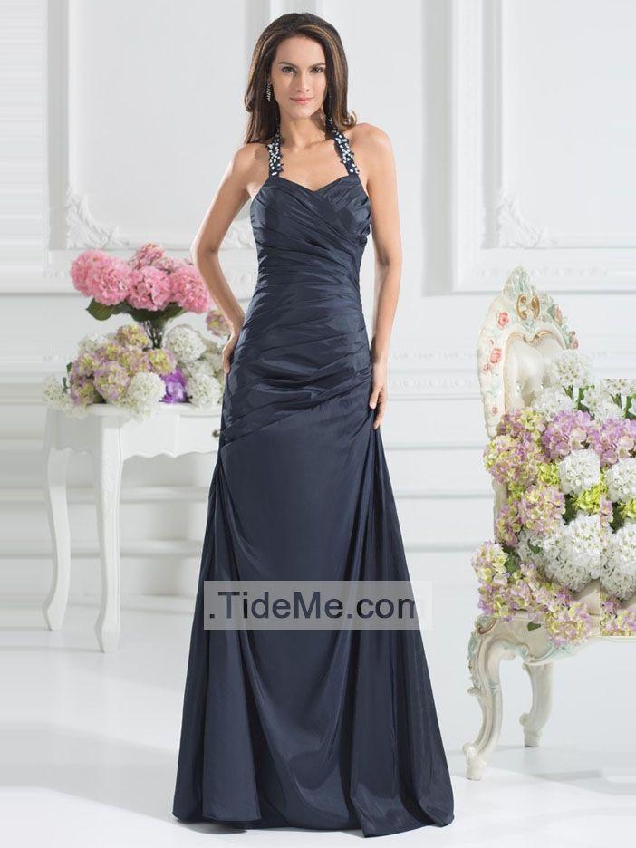 Navy Sweetheart Halter Mermaid Floor Length Pretty Taffeta Long Cheap Prom Dress Evening Dress Bridesmaid Dress