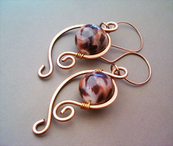 Wire Wrapped Earrings Copper and Ceramic Beads - Handmade Copper Earrings - wire…
