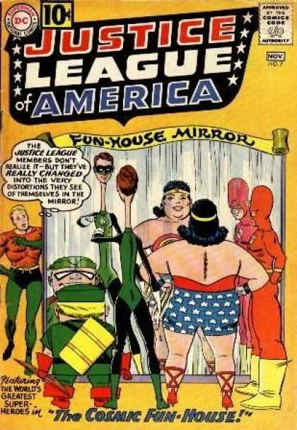 """JLA #7 from the first, original run -- what loopy fun! To be fair, I first read this in a giant-sized reprint collection, but the story is still as silly and amusing as it must have been when it first appeared in the early 1960s. Marvel never matched DC for sheer absurdity, and while DC often used exaggerated material on the covers to sell more mundane stories within, the inside story here matches the cover to a """"t."""""""