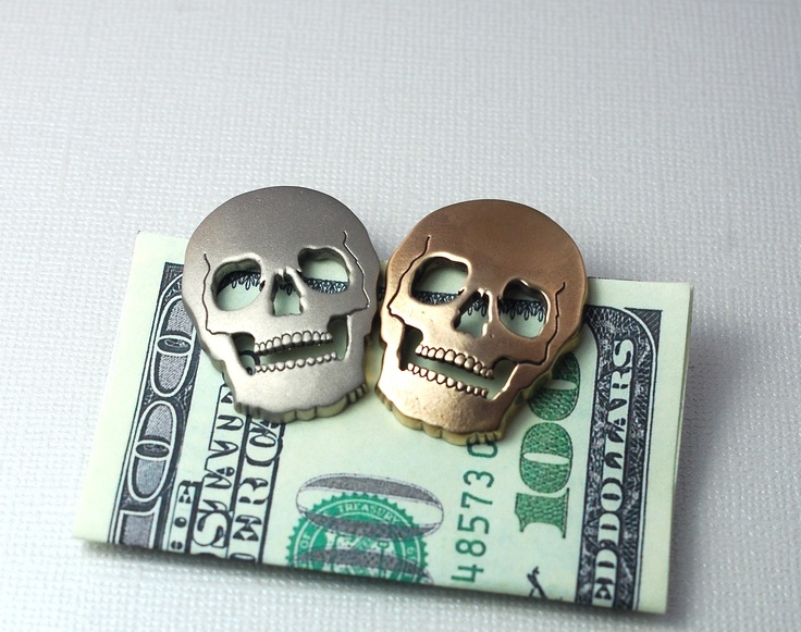 Golden Skull Money Clip for Him. $44.00, via Etsy.  These are extremely cool.