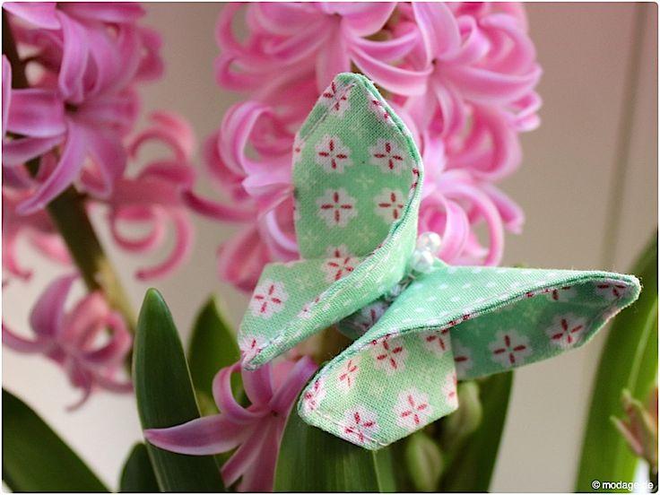 Origami Schmetterling aus Stoff Naehanleitung Stoffreste modage 11