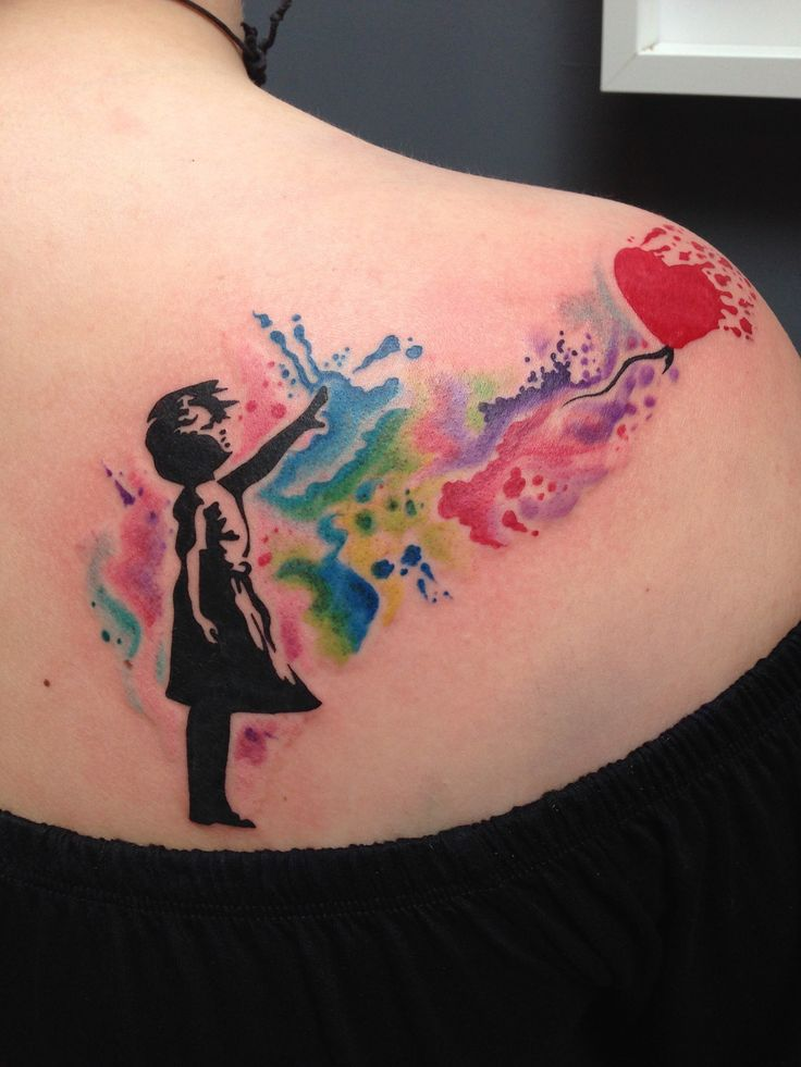 Banksy watercolour tattoo by Toby Harris