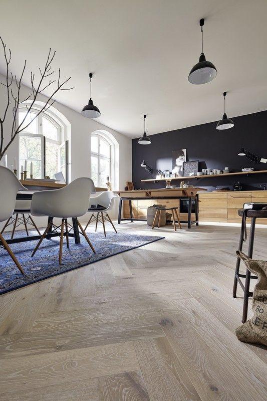 Parkett Residence   PS 500   Eiche authentic weiß 8563   gebürstet   Naturgeölt – Boden Esszimmer Küche