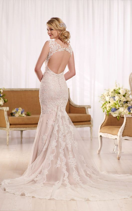 D2135 Lace Wedding Dress With Cathedral Train By Essense Of Australia