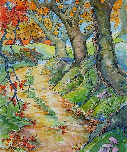 """""""Autumn Down the Old Way Storybook Cottage Series"""" - Original Fine Art for Sale - © Alida Akers"""