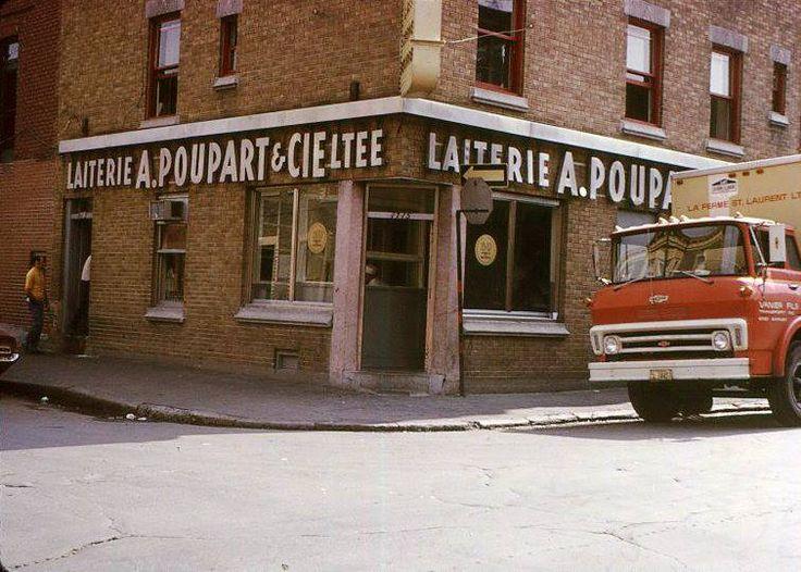 Façade de la Laiterie A. Poupart & Cie, peu avant la fermeture et la démolition, vers 1972. Photo Céline Champagne, Françoise de la Harpe, Écomusée du fier monde