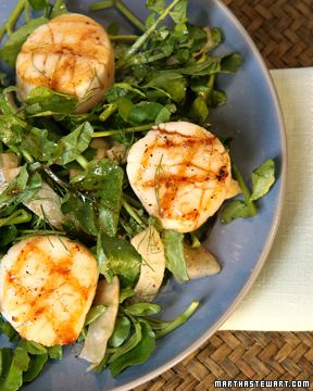Grilled Scallops With Mint Pesto And Balsamic Syrup Recipe ...