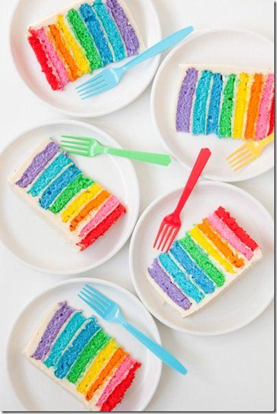 Le Rainbow Cake, c'est encore plus beau une fois découpé, on voit toutes ses couleurs réalisées avec la levure colorée #Francine !