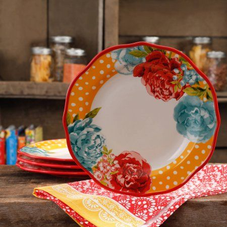 The Pioneer Woman Blossom Jubilee 10.5 inch Dinner Plate Set, Set of 4, Multicolor
