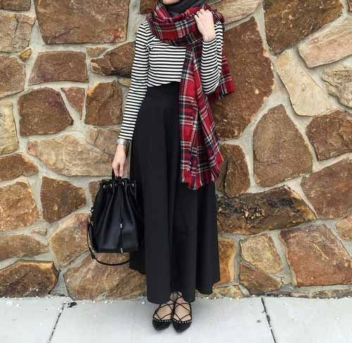 Pinterest: @eighthhorcruxx. Stripy top, black skirt, plaid scarf and black lace up flats #hijab #hijabfashion #hijabstyle #hijabstreetstyle #modest #modestfashion #abaya #muslimah #muslim #style #ootd #outfitideas #casual #eighthhorcruxx