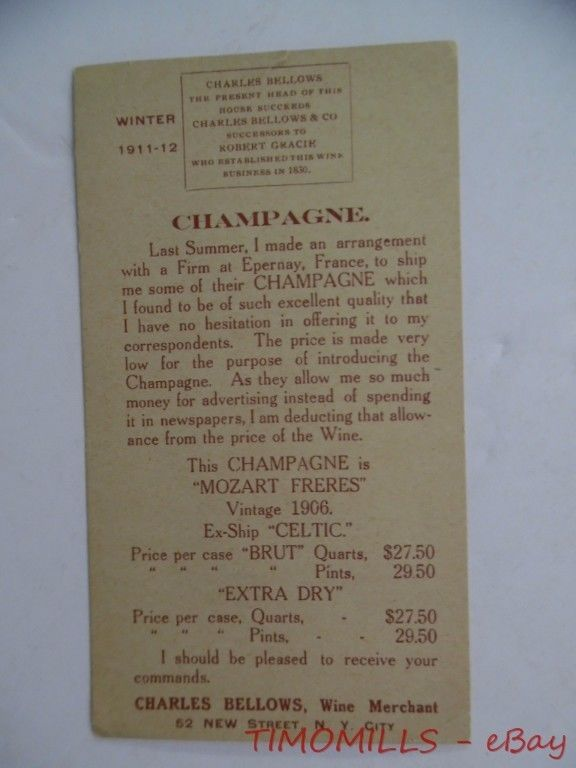 1910 Charles Bellows Wine Merchant Mozart Freres French Champagne Trade Card NYC #MozartFreresFrenchChampagne
