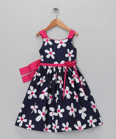 Loving this Navy & Pink Daisy Dress & Shrug - Toddler & Girls on #zulily! #zulilyfinds