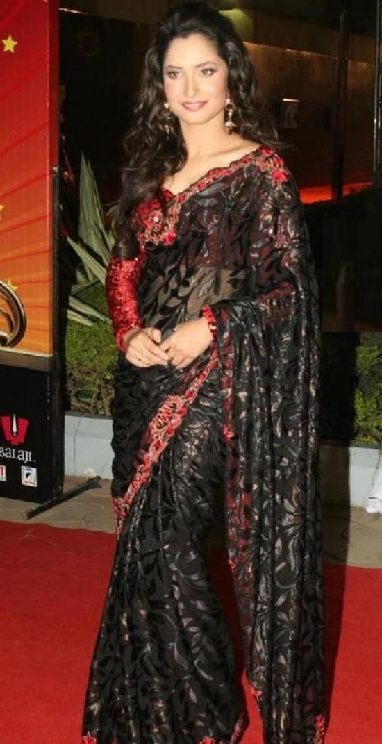 #Ankita #Lokhande decides to wear a black net #sari  #saree on the #red #carpet to look different.