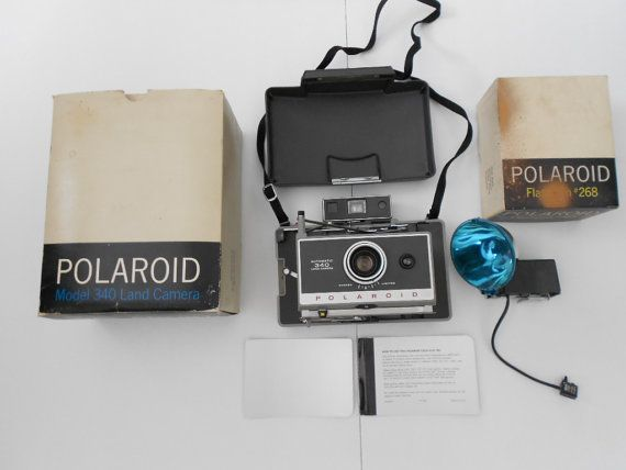Vintage Polaroid 340 Land Camera and 268 Flash by TheArtifactAttic, $45.00