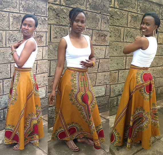 This beautiful mustard dashiki skirt is made from 100% cotton African Dashiki fabric. *Flared design *Invisible zipper at the back *Well lined