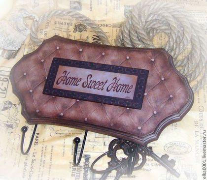 """Вешалка-панно """"HOME-2"""" - коричневый,вешалка,вешалка для кухни,Вешалка для полотенец"""