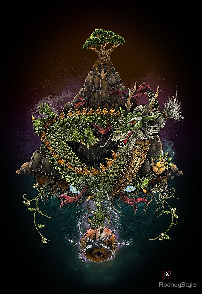 """The Earth Dragon by RodneyStyle For those who are worthy, """"The Green Dragon touches the atrophied orb and imbues it with vital essence."""" In Alchemy the Green Dragon represents the active vital force. It has appeared to shed light on the disruptive thought patterns, or habits that the individual has been unconsciously harboring. The dragon brings these traits into our awareness so that we may choose to act upon them in a healthy way, and offers us the promise of renewal."""