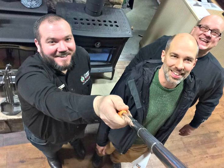 Drew and owner Mike (right) celebrate Steve's purchase of a Manchester Hearthstone wood stove! #gas #pellet #wood #stove #insert #fireplace #freestanding #boiler #ct #ma #conn #mass #warmth #comfort #heat #mainline #sale #clearance #special