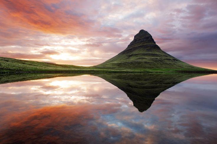 Mount Kirkjufell [Church Mountain} on the north coast of Iceland's Snæfellsnes peninsula, near the town of Grundarfjörður - photo from Guide to Iceland   ...photographer not listed...