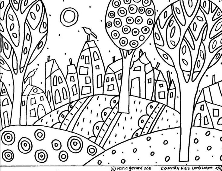 Rug hook paper pattern country hills folk art karla g for Folk art coloring pages