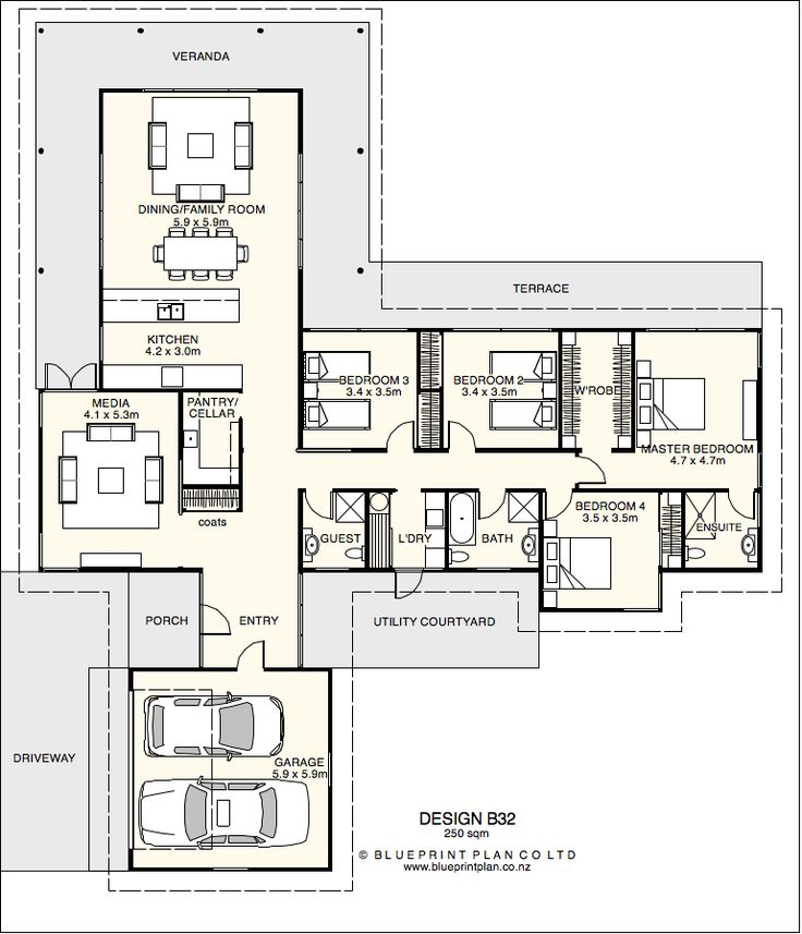 T shaped plan with four bedrooms house designs for C shaped house plans