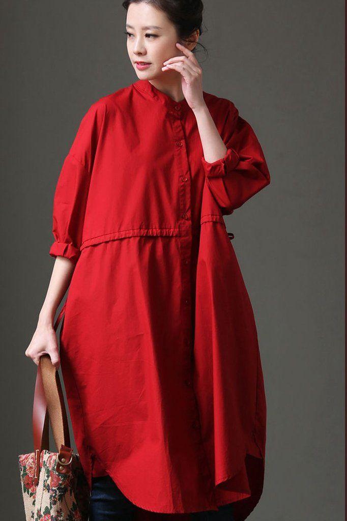 3237e4872f1e Women Cotton Red And White Long Sleeve Shirt Dress C1133
