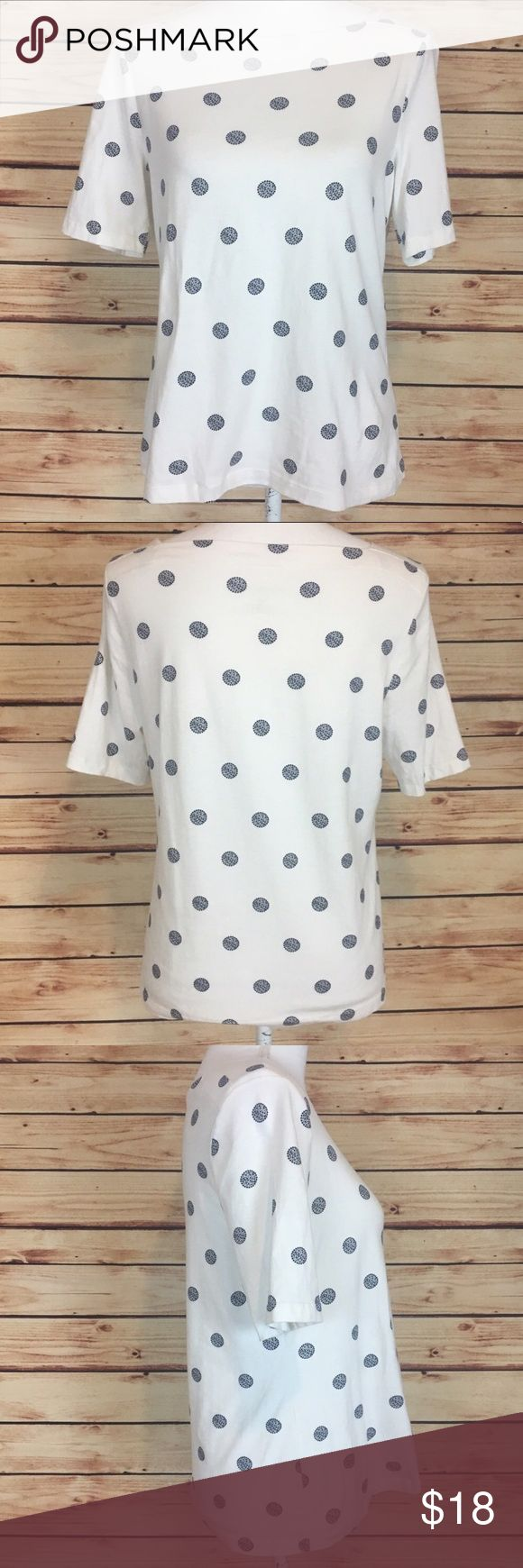"Talbots White Blue Polka Dots Short Sleeve Shirt Talbots short sleeve shirt. White with blue polka dots. Boat neck. Size small petite.  Excellent preowned condition with no flaws.  Measurements are approximately: 37"" bust and 23"" length.  95% cotton, 5% spandex.  No trades. All items come from a pet friendly, smoke free home. Bundle to save! Talbots Tops Tees - Short Sleeve"