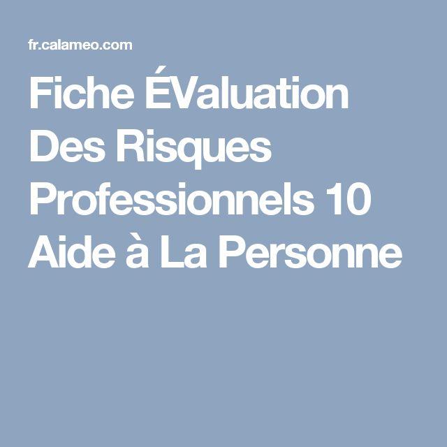 Fiche ÉValuation Des Risques Professionnels 10 Aide à La Personne